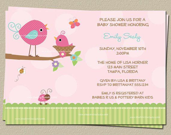Digital Bird Baby Shower Invitation Tweet By Theinviteladyshop