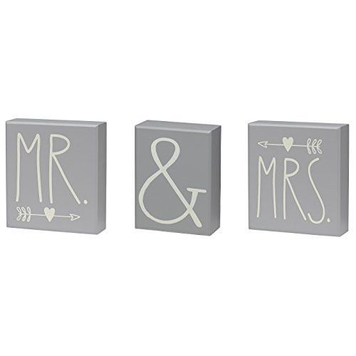 Unique and distinctive Mr. and Mrs. Box Sign Set. Made of solid wood with grey…