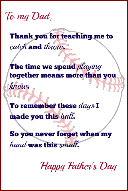 Handprint Baseball Fathers Day Gift With Free Printable Poem