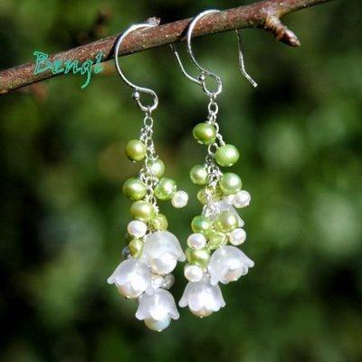 Pendants d'oreilles - ørenringe med hvide tulipanflower beads - liljekonvaller - god ide