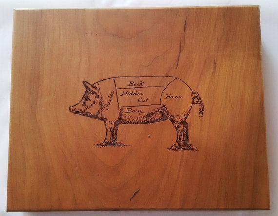 Pork Chop Pig Anatomy Diagram Wooden Cutting Board Laser Engraved 11