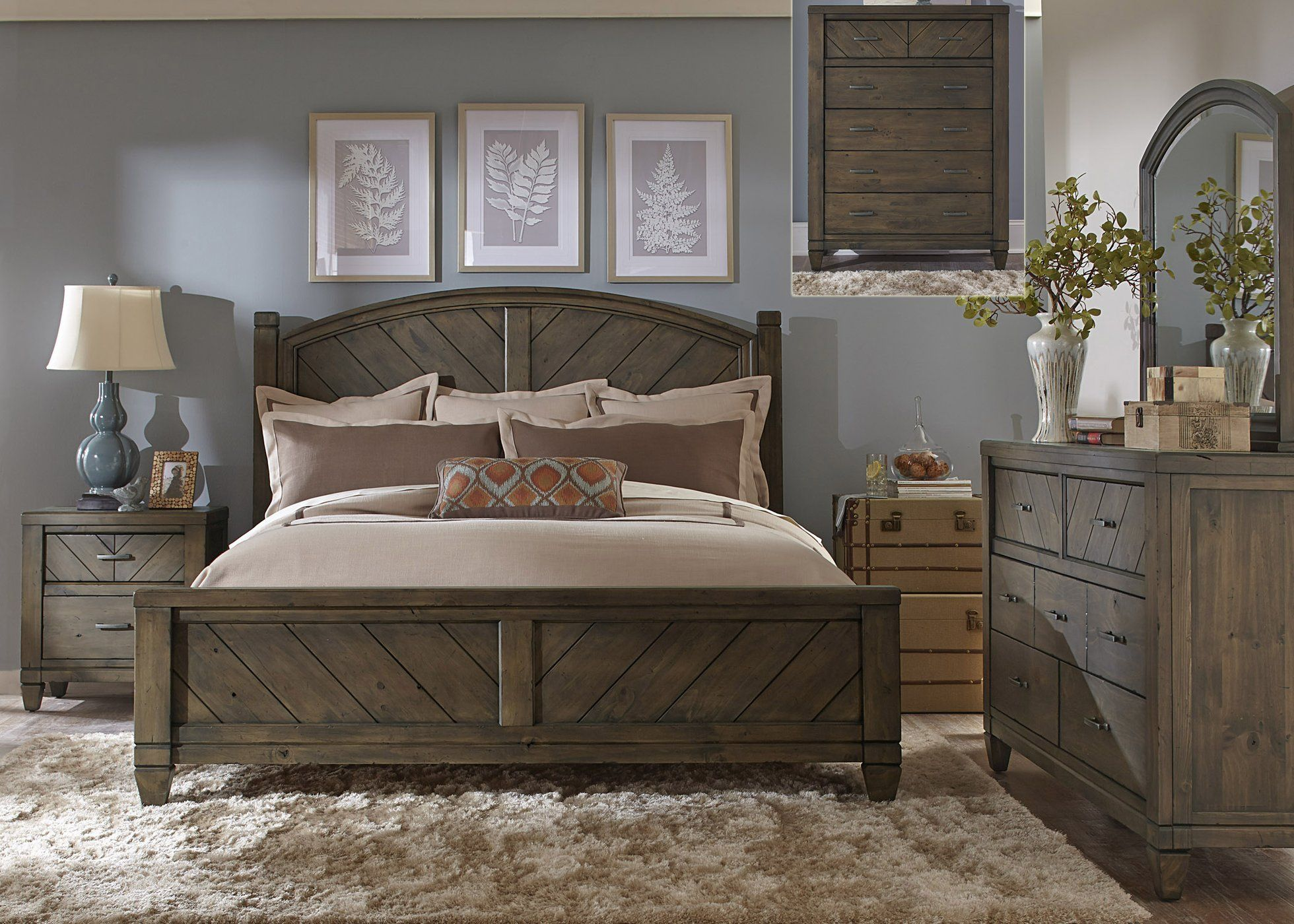 Modern Country Bedroom Queen Poster 5 Piece Bedroom Set ...