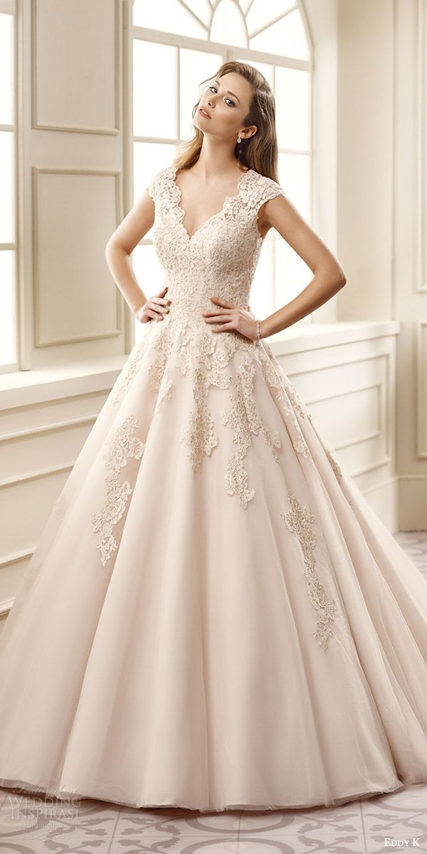 Eddy K Bridal 2016 Cap Sleeves Sweetheart A Line Wedding Dress Ek1065 Zv Champagne Color