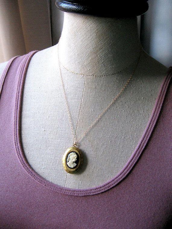 Vintage Cameo Locket Necklace Black Cameo Locket by MySweetNomsa