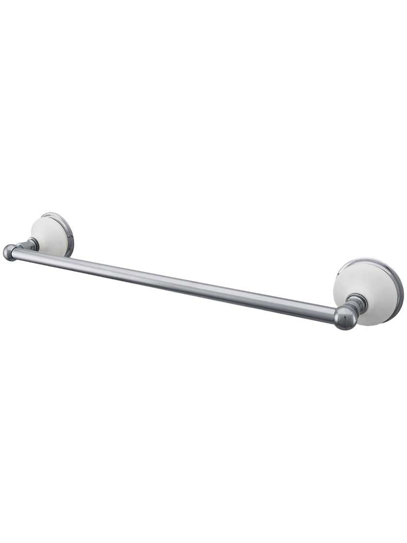Columbia Towel Bar With White Porcelain Rosettes Towel Bar White Porcelain Brushed Nickel Towel Bar