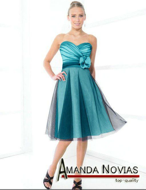 Cheap short bridesmaid dresses teal color with black tulle MAID0063 ...
