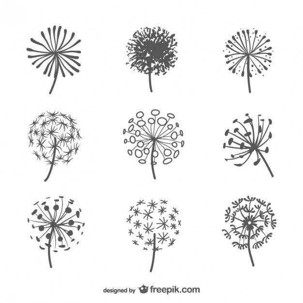 Silhouettes De Pissenlit Emballer Illustrations Fleurs