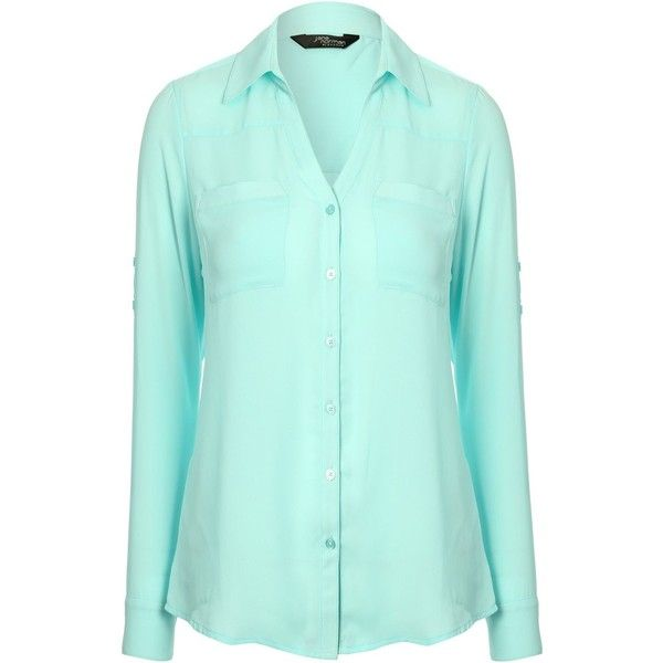 Jane Norman Open collar blouse (£15) ❤ liked on Polyvore featuring tops, blouses, green, sale, button front blouse, v neck blouse, long sleeve v neck top, v-neck tops and blue long sleeve blouse