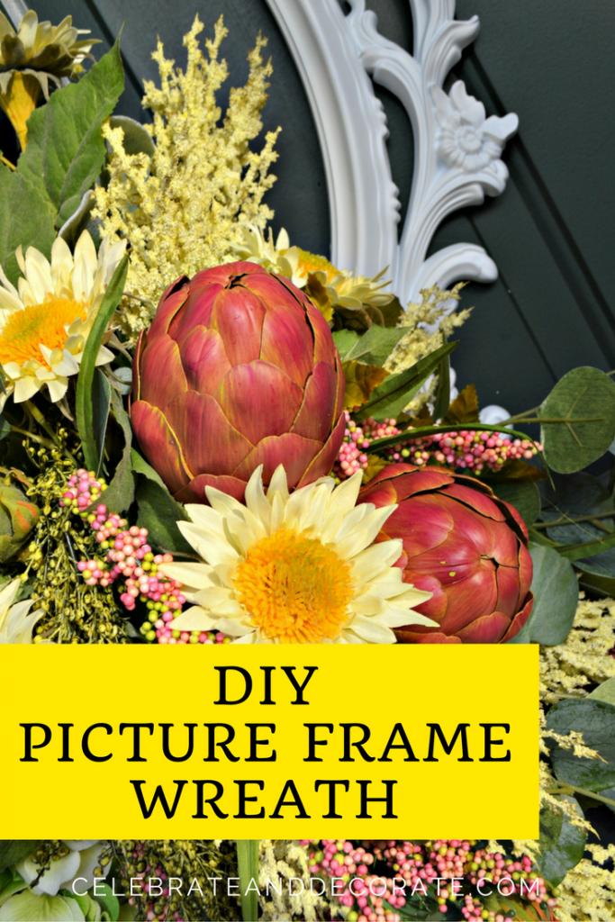 DIY Picture Frame Wreath Picture frame wreath, Frame