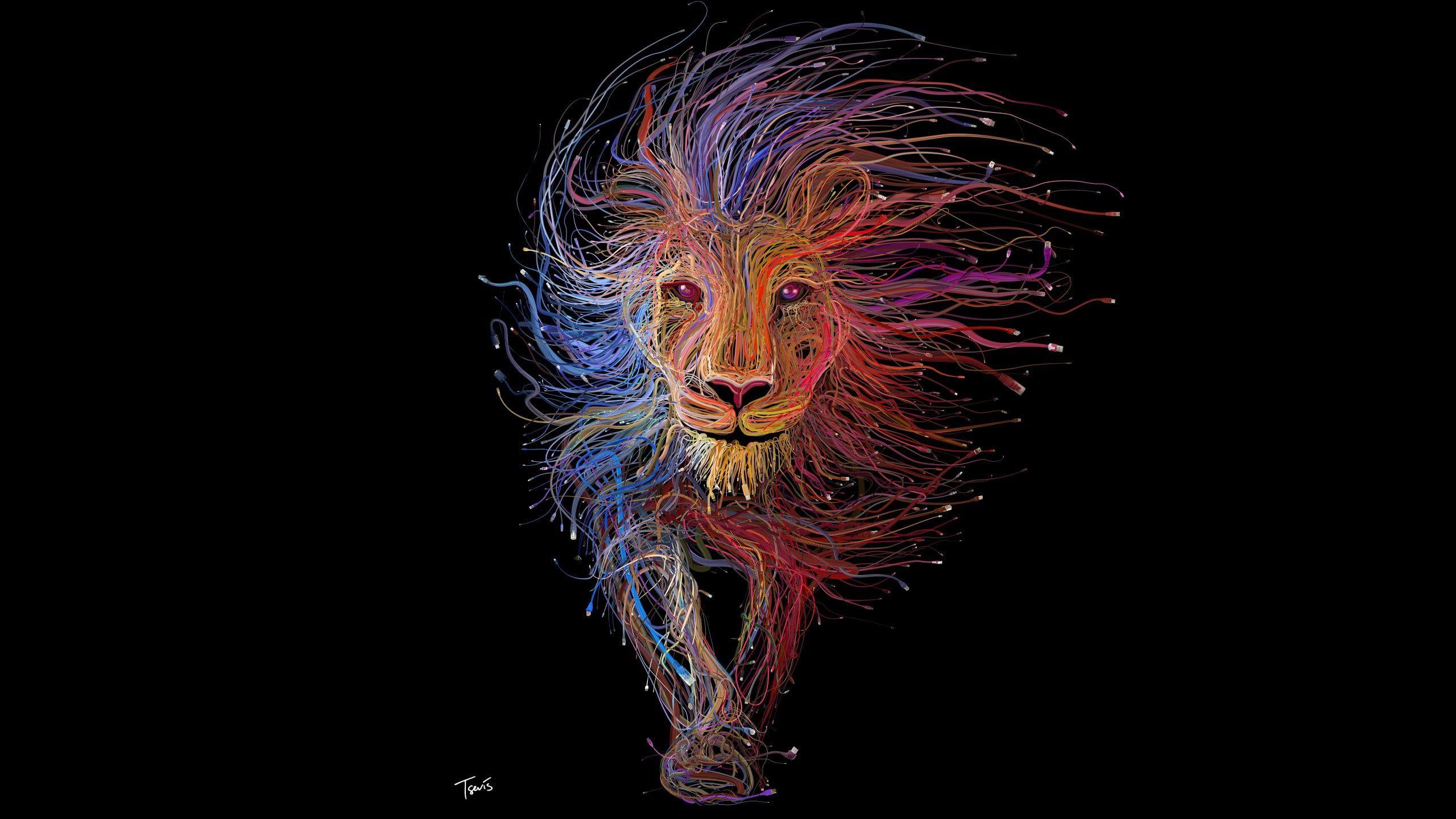 Red Blue And Orange Multi Color Lion Illustration Multicolored Lion Artwork Wallpaper Lion Colorful Digit Lion Hd Wallpaper Lion Artwork Lion Illustration