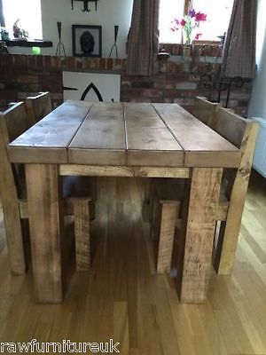 Rustic Chunky Beam Dining Table With 3 Quot Thick Top Chairs Solid Wood Any Size Wooden Kitchen Table Kitchen Table Wood Wood Dining Table