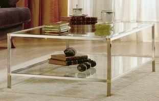table basse carr e 2 plateaux verre structure en laiton dor ou argent sur mesure tables. Black Bedroom Furniture Sets. Home Design Ideas