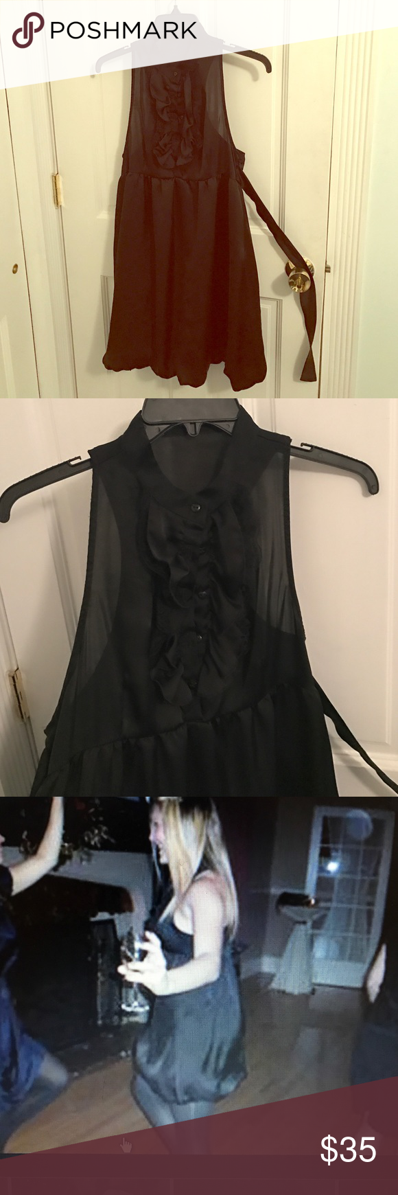 Black Zara party dress Black dress from Zara. Polyester. Has pretty ruffle detailing in the front that buttons up. I included photos wearing it because it's hard to tell from photos Dresses Mini