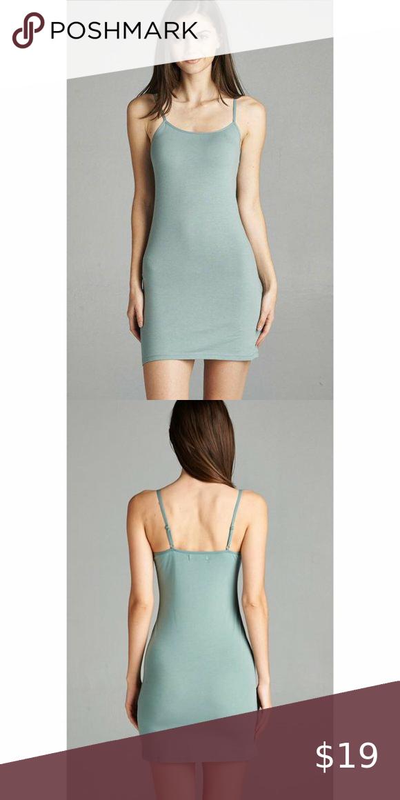 Dusty Sage Green Cami Bodycon Mini Dress