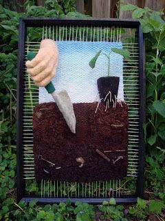 Dimensional Weaving by Martina Celerin - I love the key hidden in the dirt!