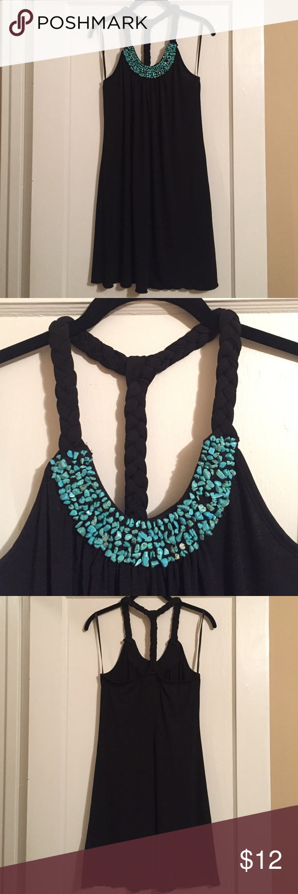 Turquoise Embellished Black Dress Black dress with braided, racer-back straps and turquoise stone embellishment. Perfect for a beach day or with a cardigan! Polyester and spandex fabric. A. Byer Dresses