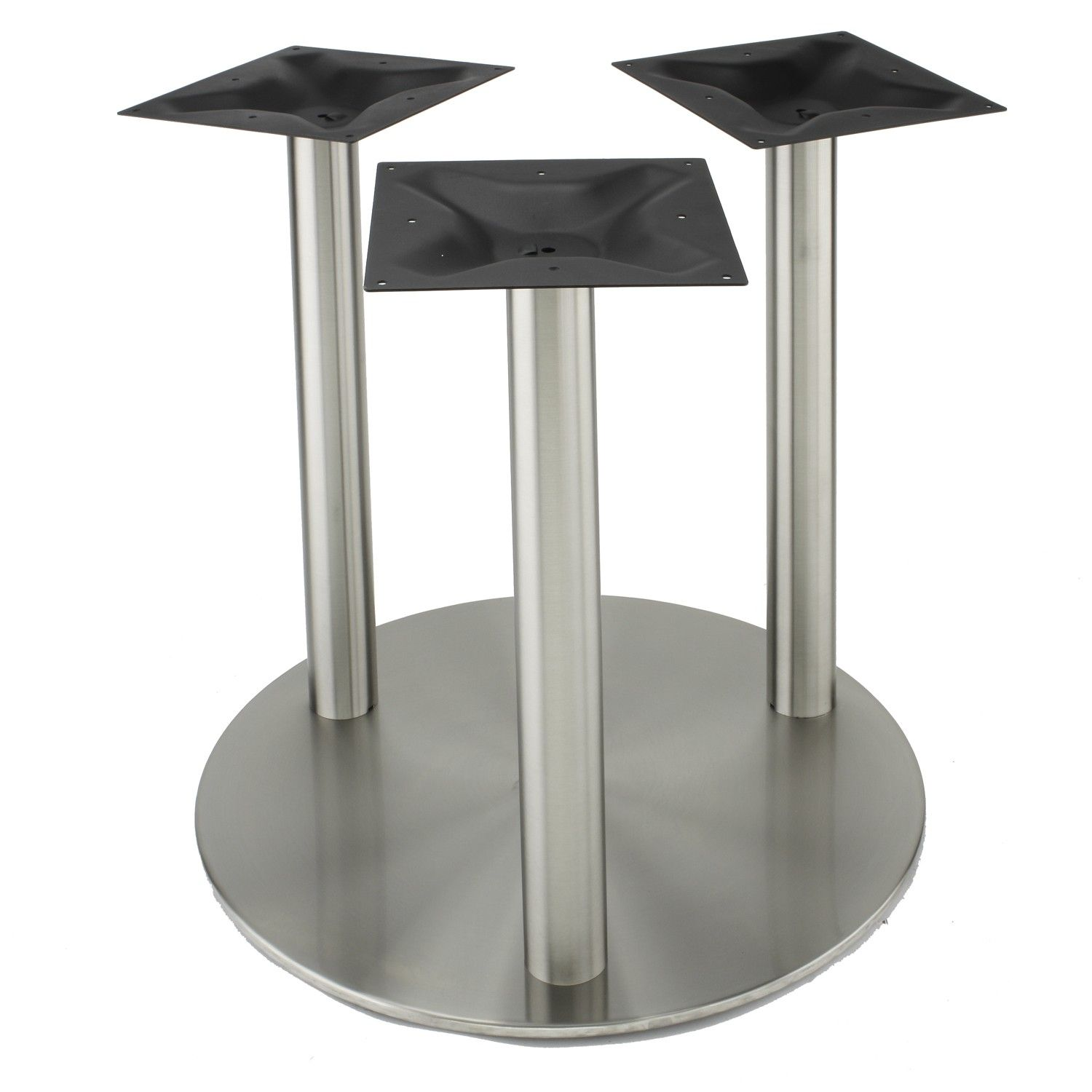 The Table Base Features:  Three, Steel Mounting Plates Thick) Spread At The  Floor  Compatibility With Tops Up To  Works With Our Optional Glass Top  Adapters