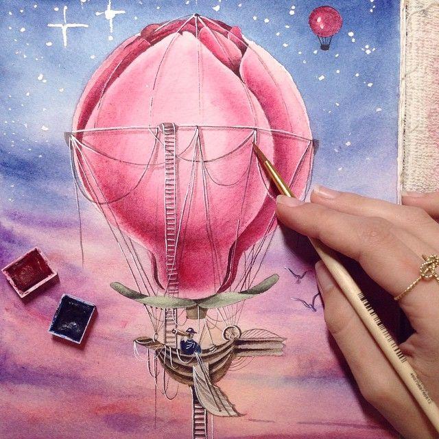 The third sketch is finished. Magnolia air balloon    #limkina #limkina_art    Третий эскиз шара ✔️#limkina_airballoons