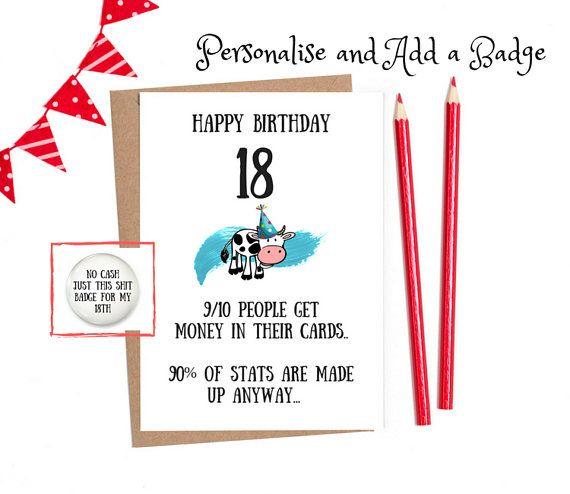 Funny 18th Birthday Funny 18th Card 18th Birthday Card Etsy Birthday Cards For Her Funny Birthday Cards Birthday Humor