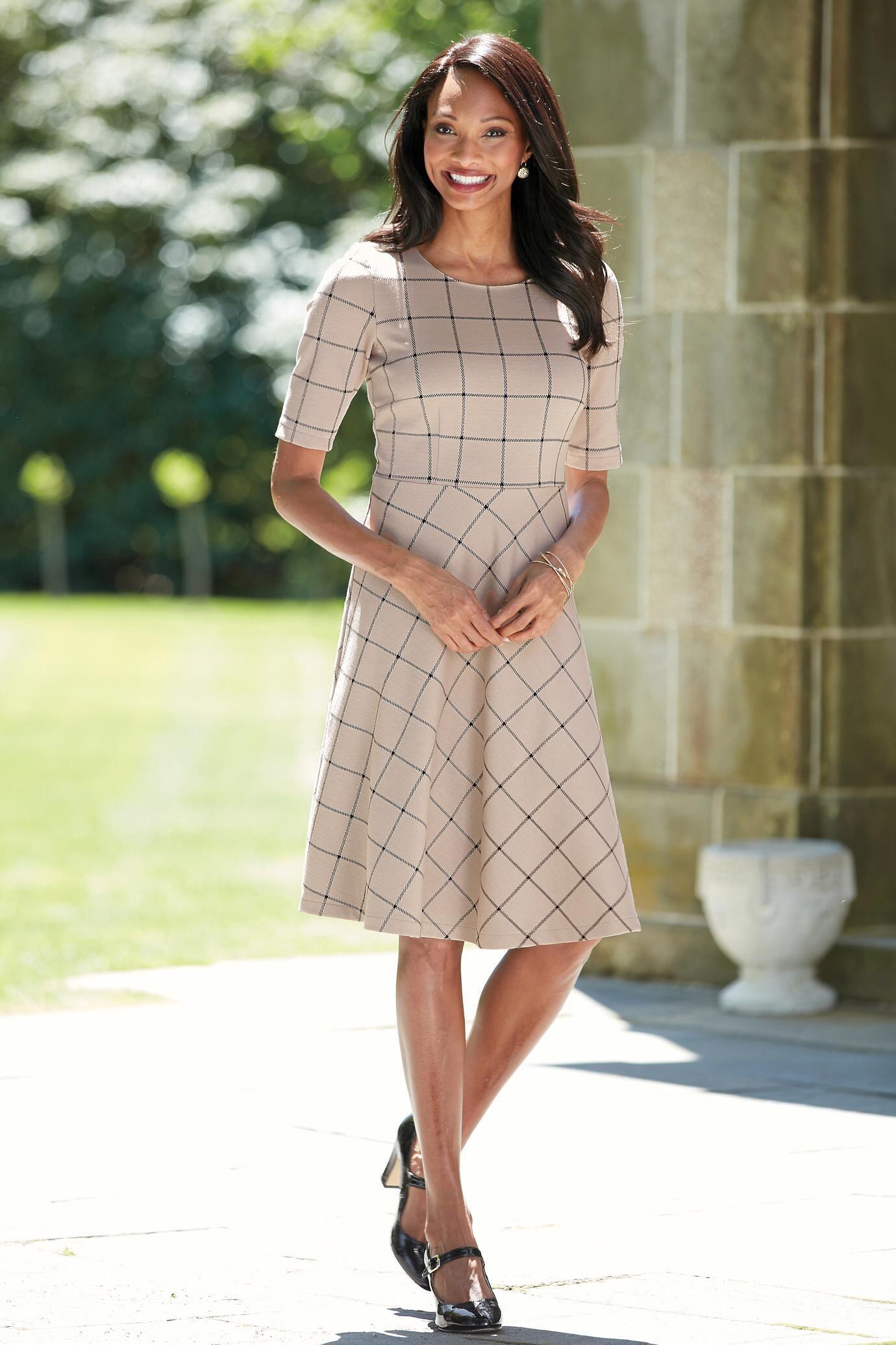 Short sleeve ponte knit fit u flare dress chadwicks of boston