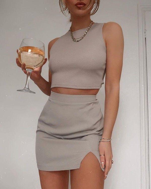 Solid Round Neck Top & Slit Skirt Set