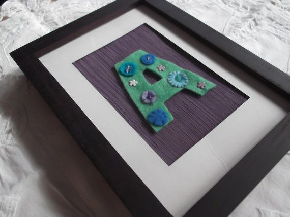 Personalised green decorated letter A on purple by MadeByAmelie, £7.50