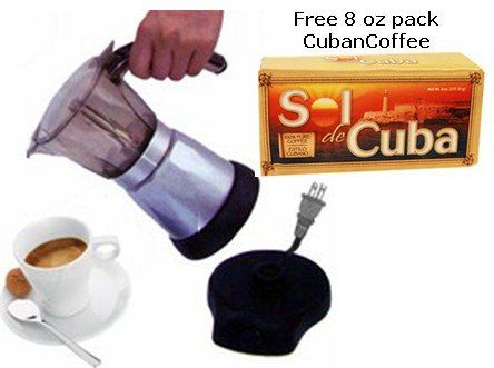 Electric Cuban Coffee Maker 6 Cups Free Pack
