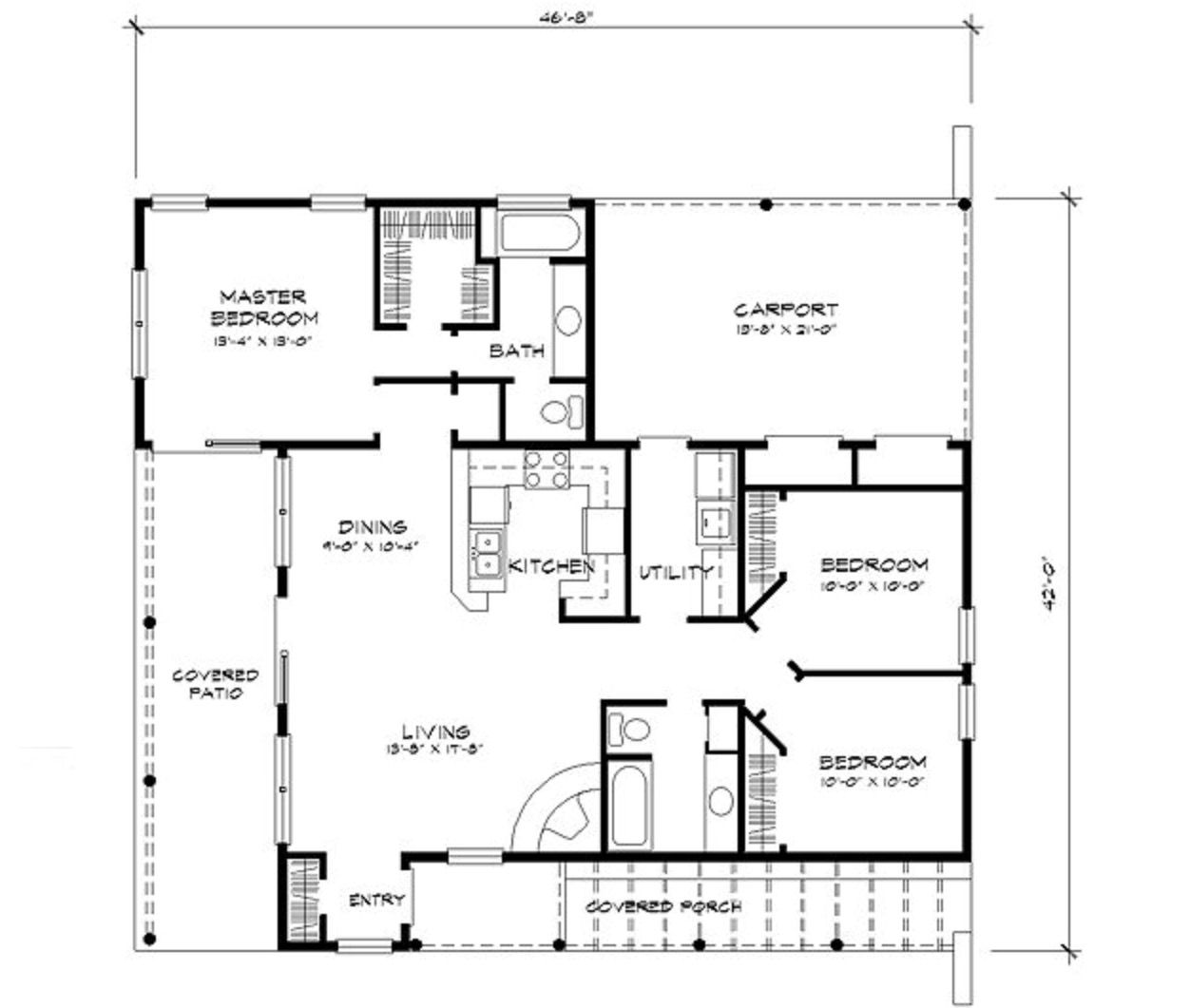 Small adobe house plan with split bedrooms open floor plan carport 3 bedrooms 2 baths and 1263 square feet of living space