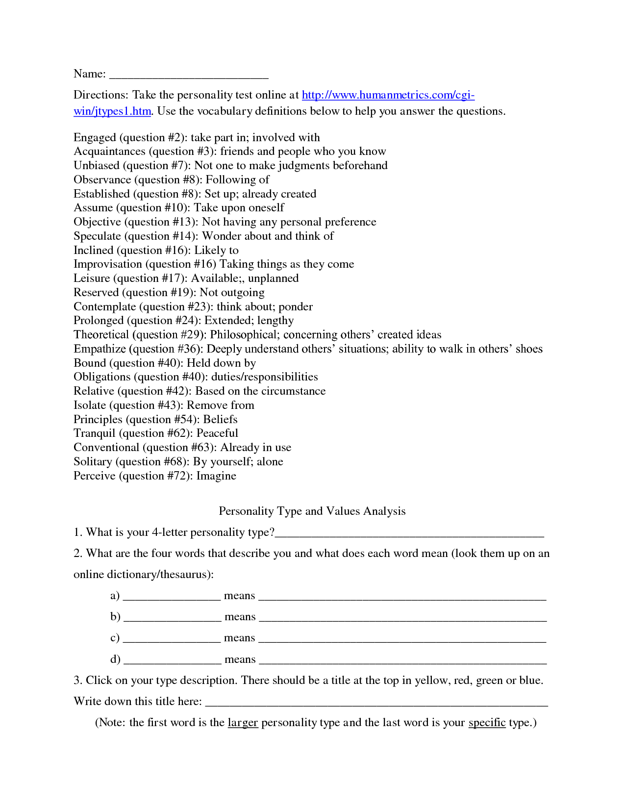 Personality Types Worksheet