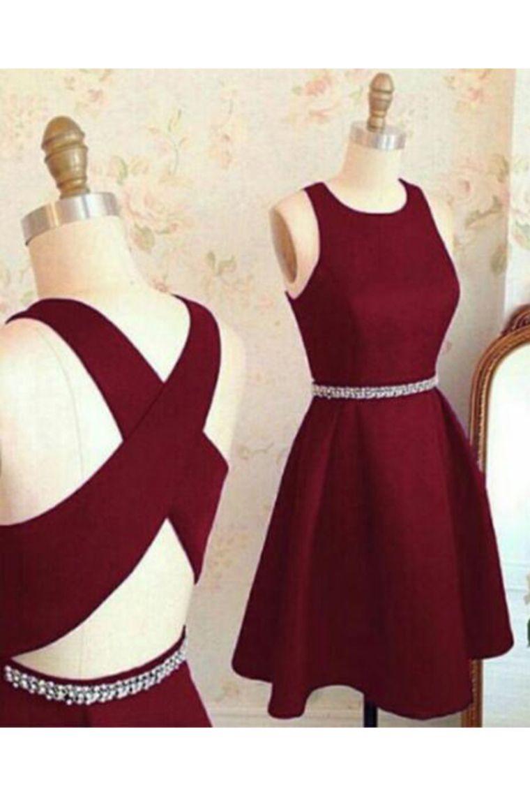 2019 Vestidos de cóctel abiertos de la parte posterior atractivos del satén de la cucharada / mini una línea US$ 109.00 VTOP1TD5M37