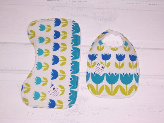 Stunning Tulip Baby Bib and Burp Cloth Set!  FREE SHIPPING !!!!!