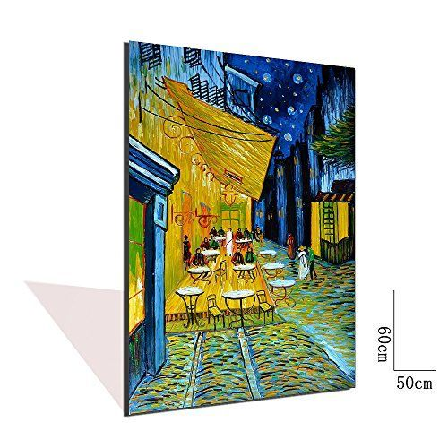 Moon wall art is not only trendy, cute and modern but it is the symbol of eternity, femininity and timelessness. You can use moon wall art in all rooms of your home and it makes a fantastic gift for anyone who loves astrology, nature, and astronomy  Asdam Art-(100% Handmade 3D)Vincent Van Gogh Cafe Terrace at Night Reproduction Oil Painting on Canvas Wall Art Wall Art Ready to Hang Pictures for Bedroom Kitchen Kitchen Home Decor (20x24inch)