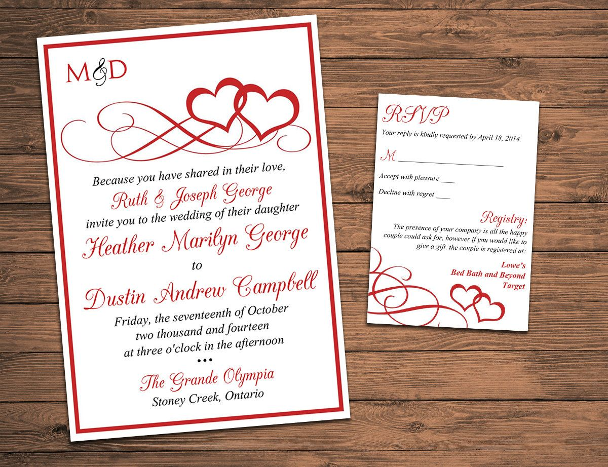 free templates for wedding response cards%0A Heart Wedding Invitation  RSVP Card with Envelope   Entwined Hearts    Valentine Red Wedding Response