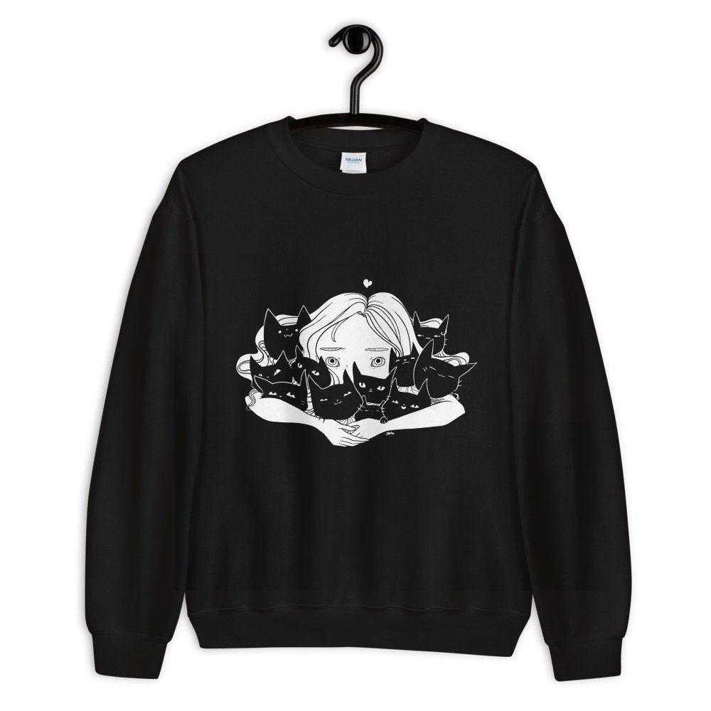 Girl hugging cats sweatshirt cute kawaii manga anime art