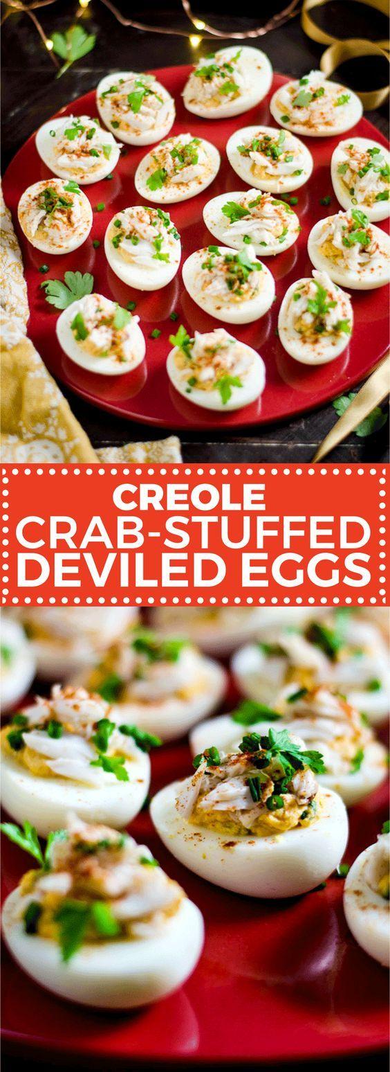 Creole Crab-Stuffed Deviled Eggs - Host The Toast