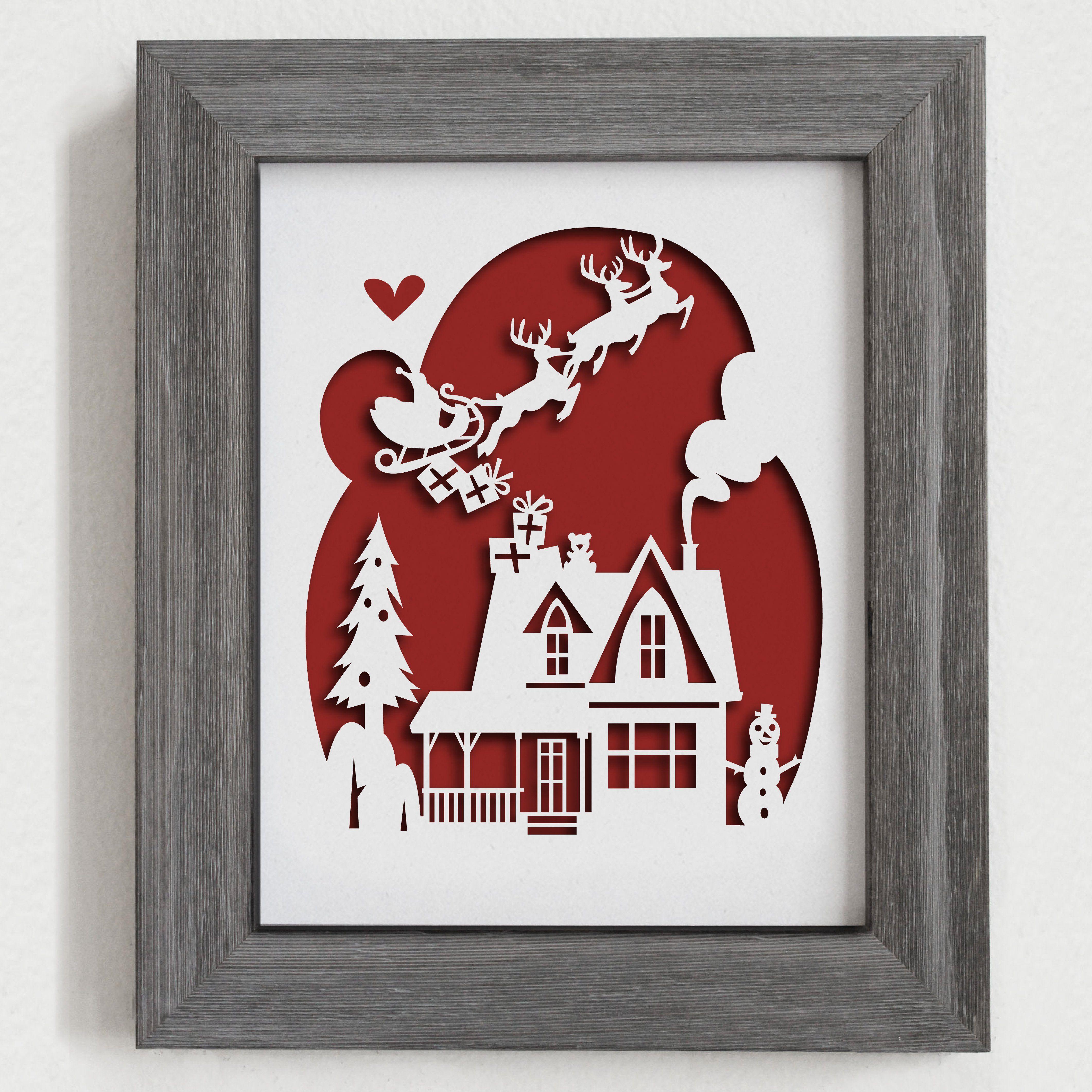 Christmas Papercut Artwork - 8x10\