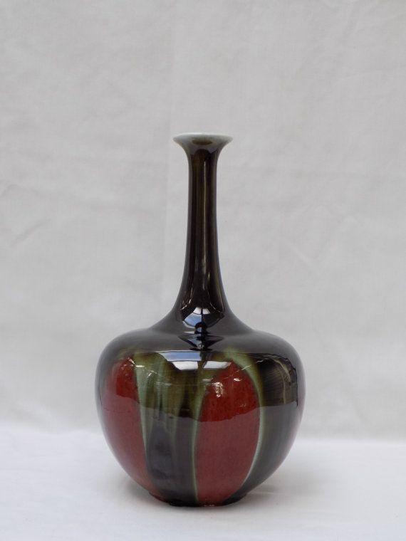 Black And Red Oxblood Glazed Elongated Neck Bottle Vase Flambe