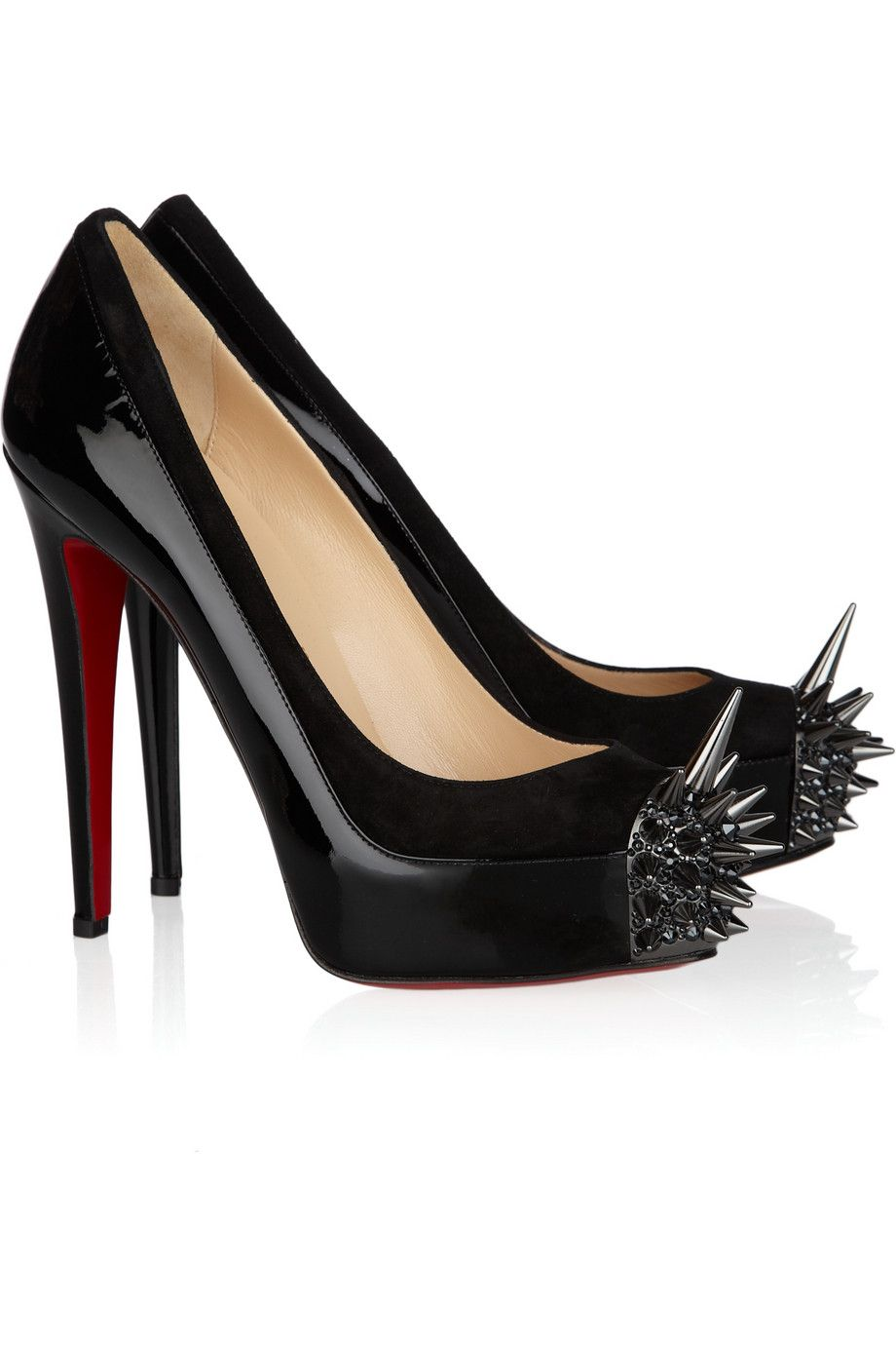 f9a20f01dac Christian Louboutin - Asteroid 140 suede and patent-leather pumps ...