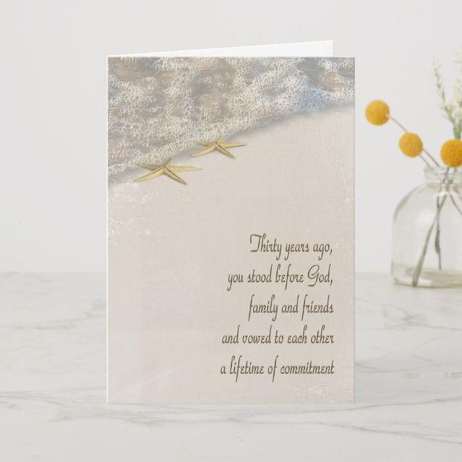 Starfish 30th Anniversary Card Zazzle Com 30th Anniversary Cards Anniversary Cards 60th Anniversary