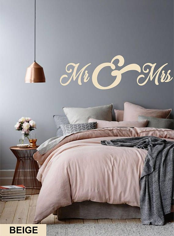 bedroom wall decal - mr and mrs letters wall decor for couple