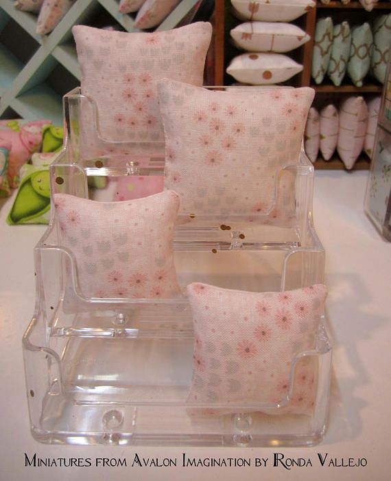 1:6TH Scale (Large) Miniature Pillow in Cute Kawaii print in pink and grey floral fabric for Barbie, Blythe, etc