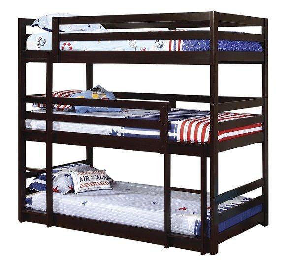 Best Wyatt Cappuccino Twin 3 Tier Bunk Bed In 2020 Bunk Beds 400 x 300