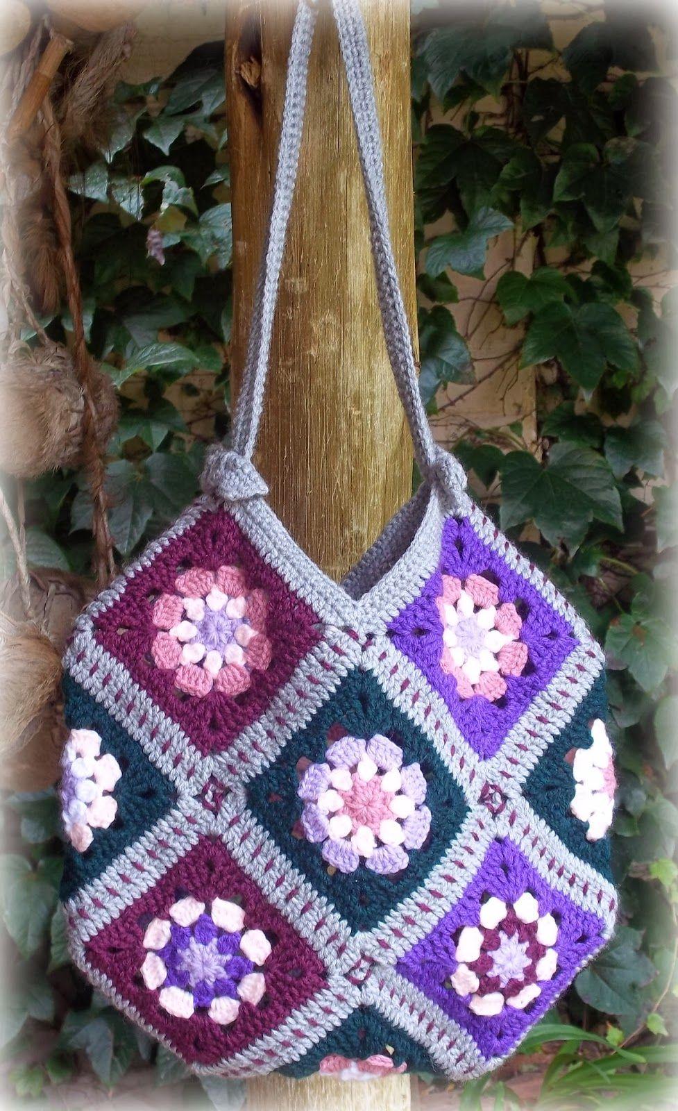 granny squares bag ~ free pattern … | Pinteres…