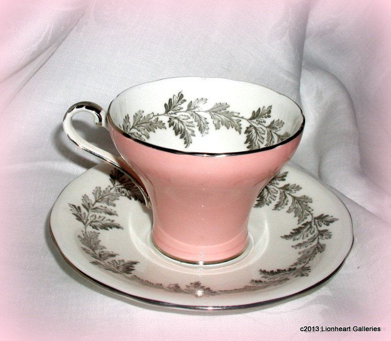 Vintage 1940s Aynsley Bone China Teacup & Saucer Pink with Gray Garland. $24.95, via Etsy.