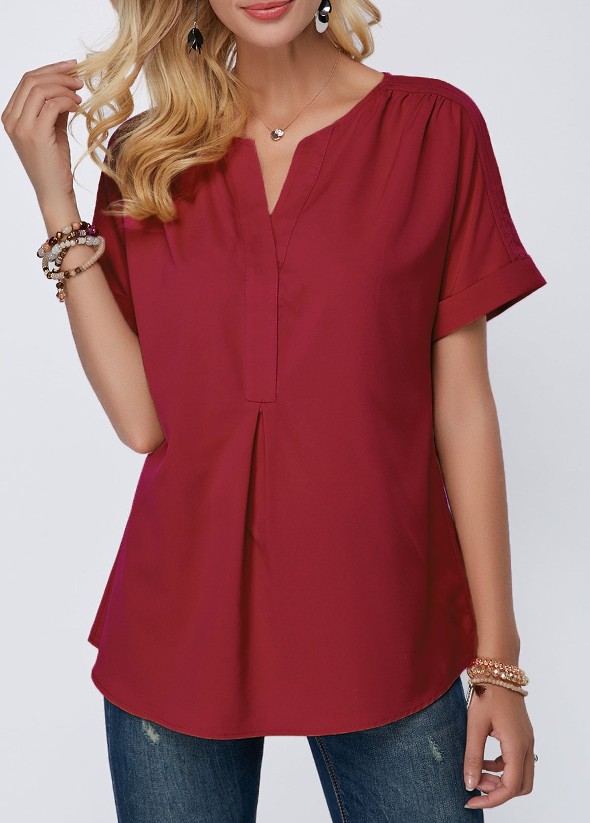 Split Neck Short Sleeve Wine Red Blouse Modlily Com Usd 28 85 Wine Red Blouse Ladies Tops Fashion Red Blouses