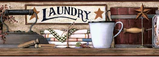 Burgundy Country Laundry Wallpaper Border HK4633BDB Wallpaper