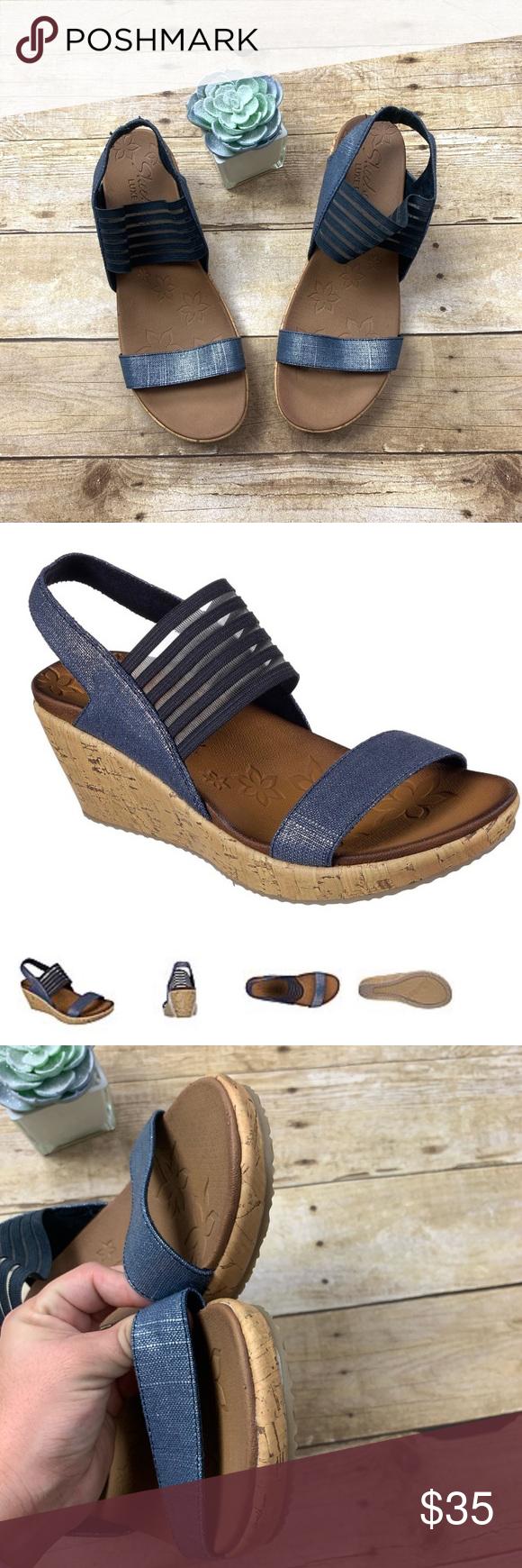 Sketchers Navy Beverlee Smitten Kitten Wedge 11 Comfortable Sandals Wedges Wedge Heels