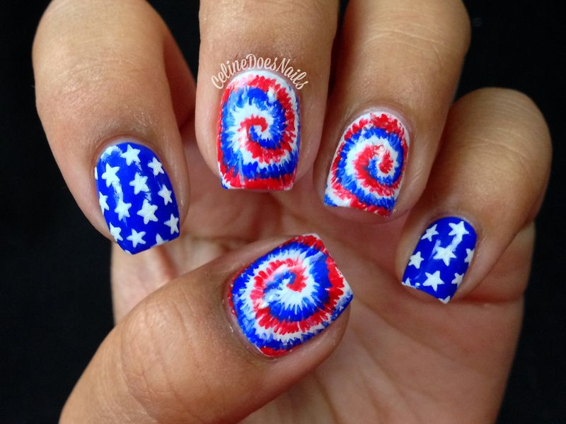 Nailpolis Museum of Nail Art | Fourth Of July Tie Dye Nail Art by ...