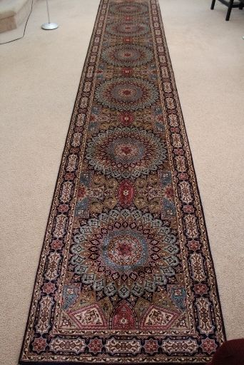 Long Gonbad Indian Tabriz Persian Rug Runner 14 Silk Rugs Genuine Handmade