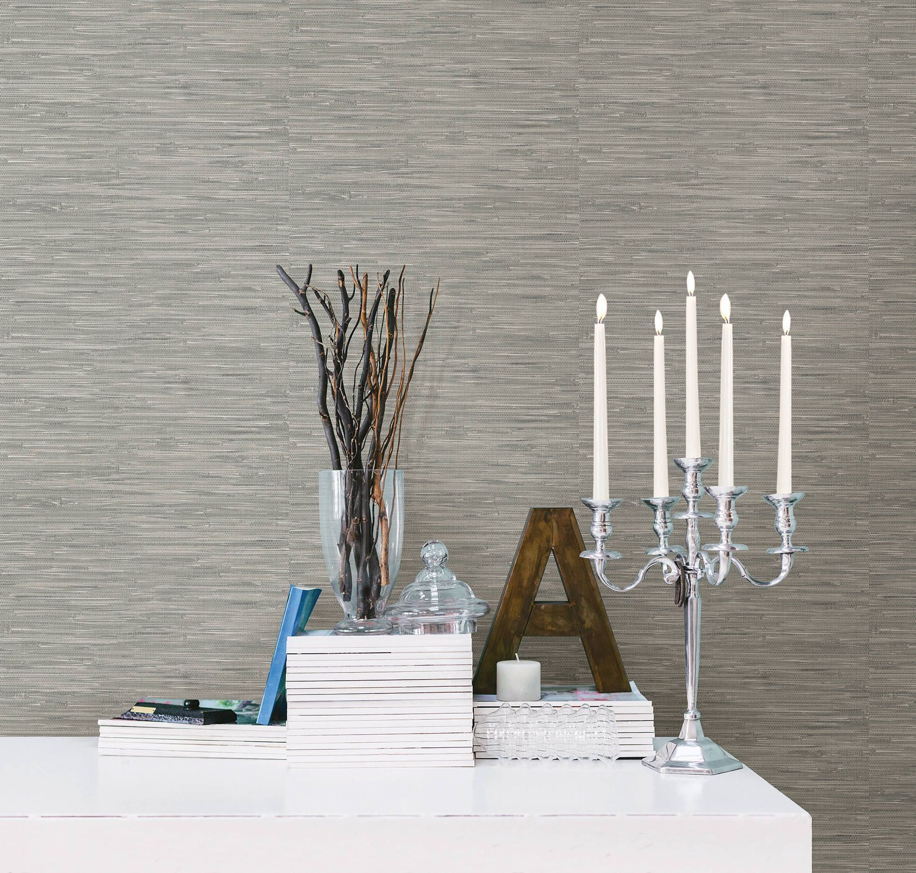 Peel and Stick Wallpops Chic Gray Boho Tibetan Grasscloth
